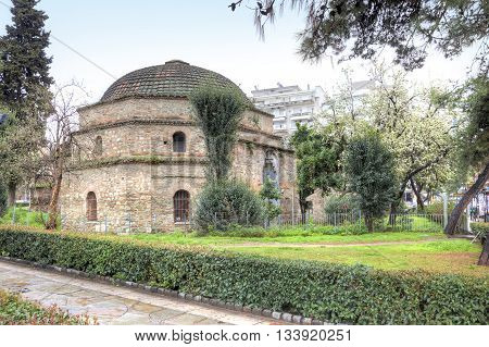 The old complex of Turkish baths Hamam Bay Loutra Paradisos Thessaloniki. Built in 1444