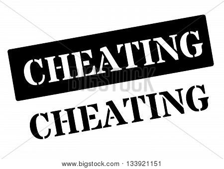 Cheating Black Rubber Stamp On White