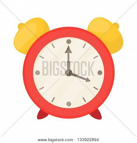 Red alarm clock icon in cartoon style on a white background