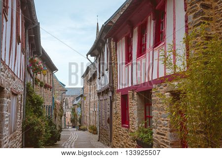 street in old Breton Brittany town Treguier France