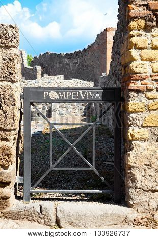 Pompeii Italy. The ruins of the Roman city of Pompeii. Pompeii a ruined Roman city near modern Naples in region of Campania southern Italy.