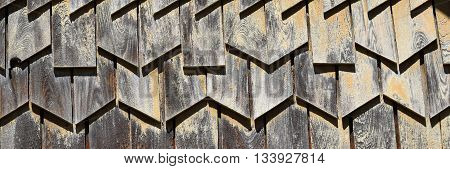 Old wood wall exterior background on historic building