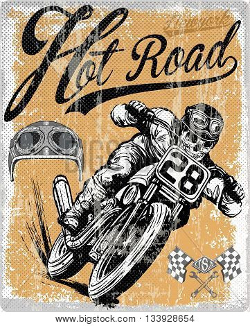 Legendary vintage racers t-shirt label design with racer and motorcycle hand drawn ilustration