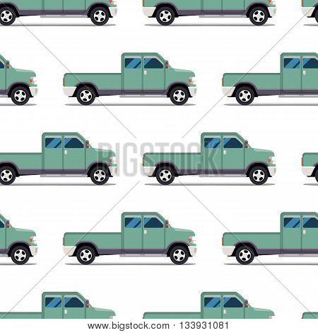 seamless pattern of green pickup truck. Vector illustration