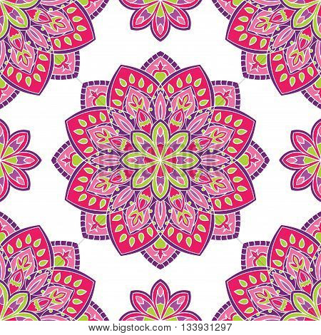 Vector seamless pattern with stylized floral mandalas. Gentle ornament on a white background. Oriental template for design textiles wallpaper carpet curtain pillowcase linens.