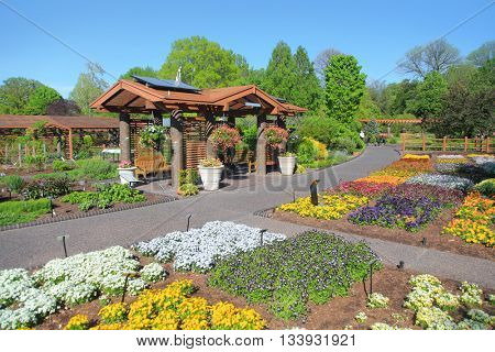 Saint Louis, MO, USA - April 28, 2016: Saint Louis botanical gardens are one of the best in the world, Saint Louis, Missouri.