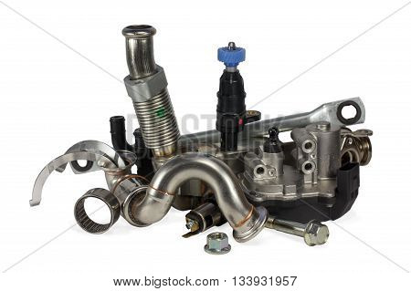 Parts for cars on a white background. auto parts