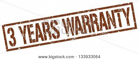3 Years Warranty Stamp. Vector. Stamp. Sign. 3.years.warranty. Brown.