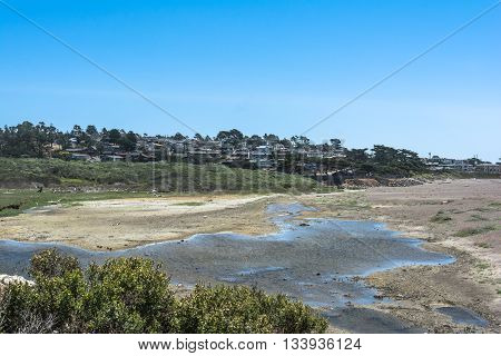 View of the seaside village of Cambria and its beach, California