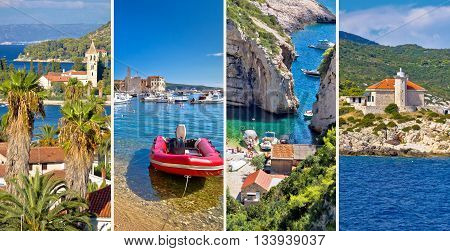 Island of Vis nature and architecture collage tourist postcard of Vis Stinva and Komiza Dalmatia Croatia