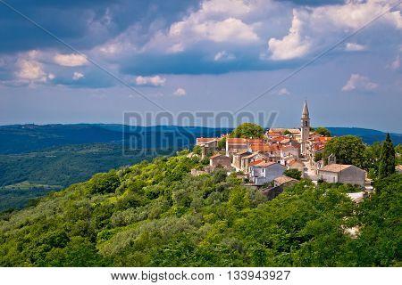 Village of Draguc in green landscape inland Istria Croatia