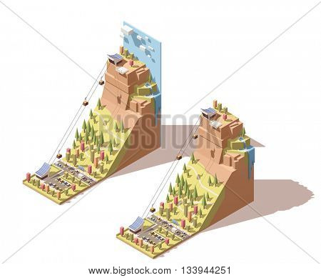 Vector Isometric travel and vacations icon or infographic element representing cableway traveling to the viewing platform on the mountain, waterfall, cable cars over the forest and road