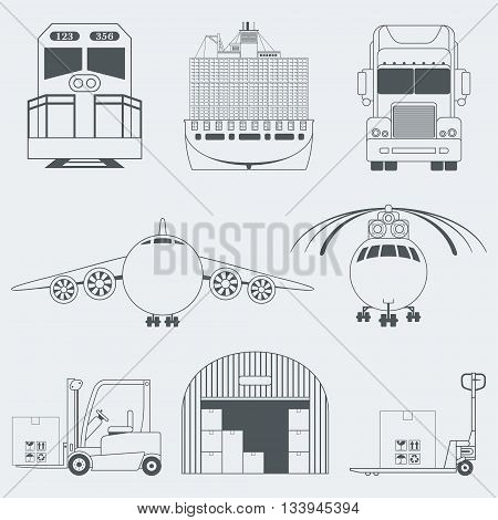 Shipping anLogistic realistic icons set of truck airplane train ship transport isolated vector illustrationd Logistics Icons
