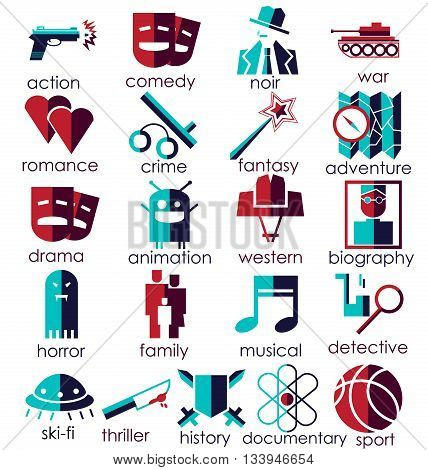 Vector flat icons set. Cinema genres theme. Red and Blue