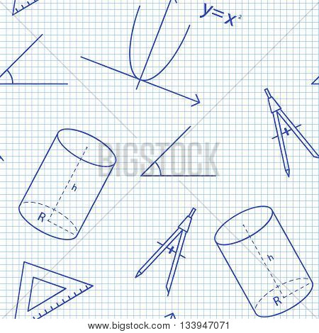 Seamless pattern back to school. Vector White sheet blue squared writing ink formula, line, triangle, cylinder, compass and angle. Mathematical background for design tutorials