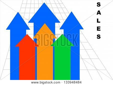 Sales arrows in front of a grid. On the right hand side is written the word