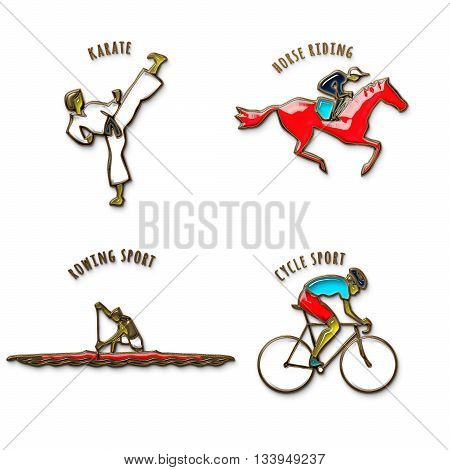 Athlete Icon. Karate. Horse Riding. Cycle sport. Rowing sport. Summer games icons. Sport icons set with sportsmen for any competition or championship design. Original 3D Illustration. Gold and colored glass
