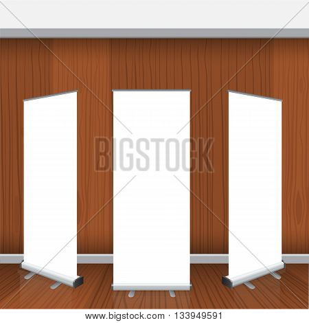 Set of Blank roll up banners display template isolated on gray background. Vector illustration. Mockup for design with realistic wood interior background