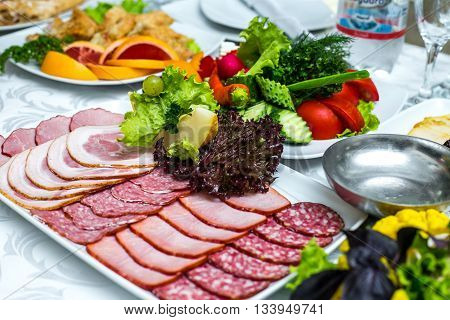 deli meat on plate salami lunch dish