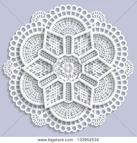 Lace mandala decorative flower 3D mandala lace doily decorative mandala decorative snowflake lacy mandala lace pattern arabic ornament indian ornament embossed pattern vector poster