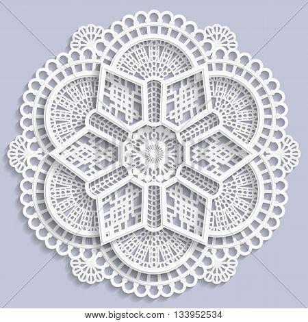 Lace mandala decorative flower 3D mandala lace doily decorative mandala decorative snowflake lacy mandala lace pattern arabic ornament indian ornament embossed pattern vector
