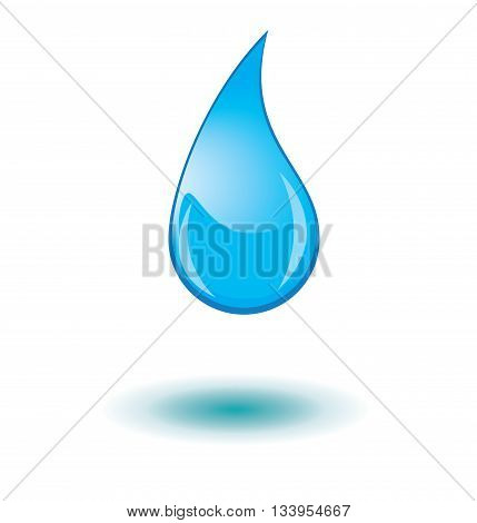 vector water drop with shadow isolated on white background