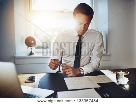 Executive Business Man Working At Desk