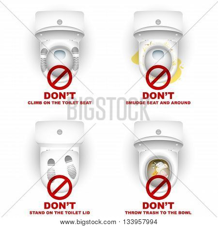 Set of toilet bowls with warning symbols and inscriptions for the rules of use; Do not climb stand smudge throw; Eps10