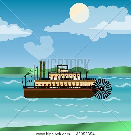 Vintage steamboat sailing down Mississippi river. New Orleans. Impeller. history America. poster