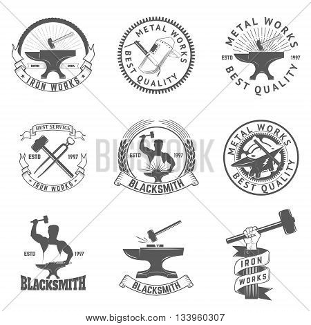 Set of blacksmith iron works labels badges and design elements. Iron works emblems.