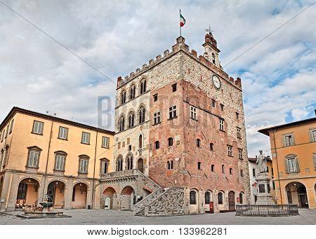 Prato Tuscany Italy - Historic palace Palazzo Pretorio that was the old city hall located town center in the ancient square Piazza del Comune