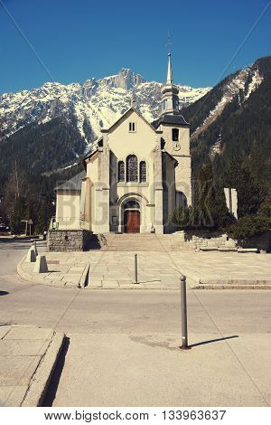 St. Michel church in Chamonix, France.Stock Photo