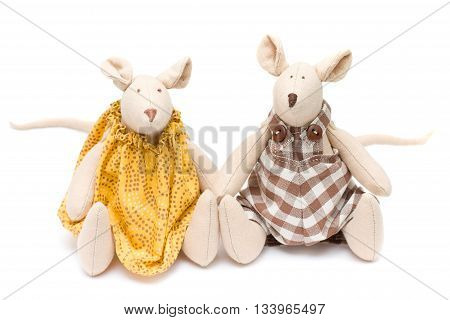 two Handmade soft toys - mouse on white