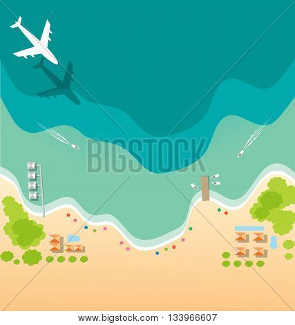 Air plane and boat paradise tropical beach background for summer concept