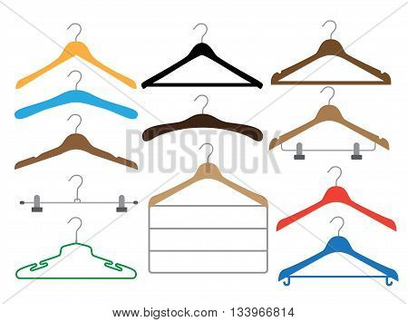 Set of colored coat hangers on the white background. Isolated different hangers collection. Vector illustration. Flat fashion wardrob.