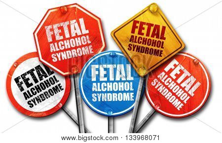 fetal alchohol syndrome, 3D rendering, street signs