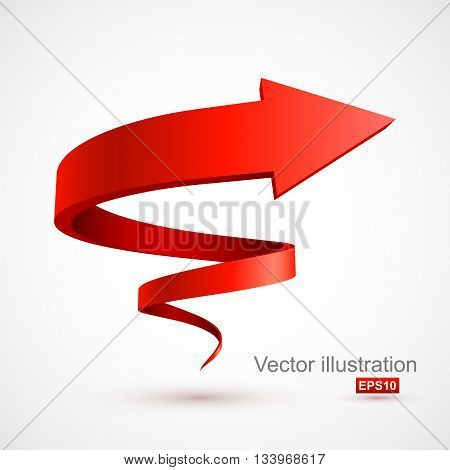 Red spiral arrow 3D. Vector Illustration EPS 10