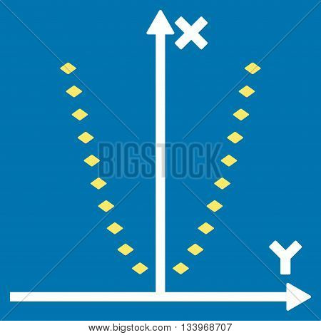 Dotted Parabola Plot vector toolbar icon. Style is bicolor flat icon symbol, yellow and white colors, blue background, rhombus dots.
