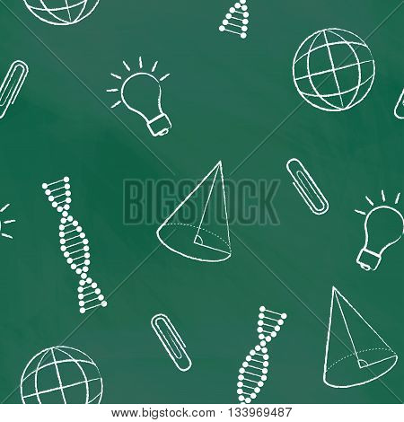 Seamless pattern back to school. Vector green blackboard written with white chalk a cone, bulb, clipa DNA molecule, globe. School background for design covers notebooks and textbooks