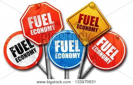 fuel economy, 3D rendering, street signs