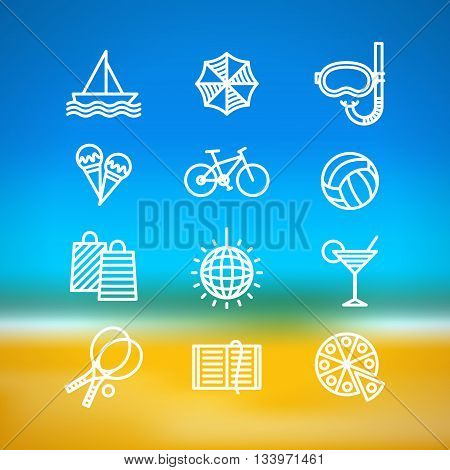 Icons of different activities for summer holidays on blurred background with sea and beach. Summer holidays and varied pastimes. Summer leisure concept