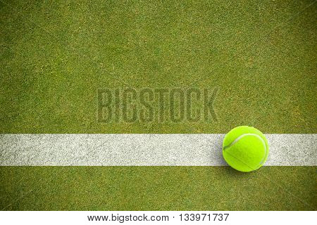 Tennis ball with a syringe against pitch with line
