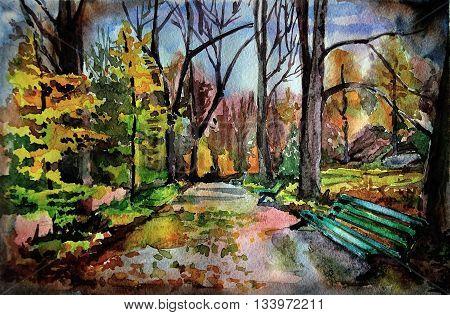 Wet autumn alley. Watercolor illustration. Park Sofiyivka Ukraine Uman. poster