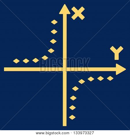Dotted Hyperbola Plot vector toolbar icon. Style is flat icon symbol, yellow color, blue background, rhombus dots.