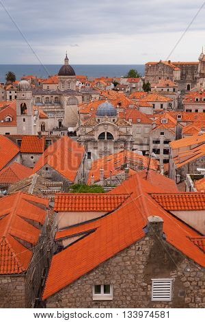 Dubrovnik Old Town Rooftops, Croatia as from the City Wall