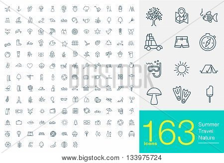 163 line icons for summer, travel and nature. Big set of professional line icons