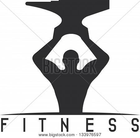 Man Of Fitness Silhouette Character With Anvil