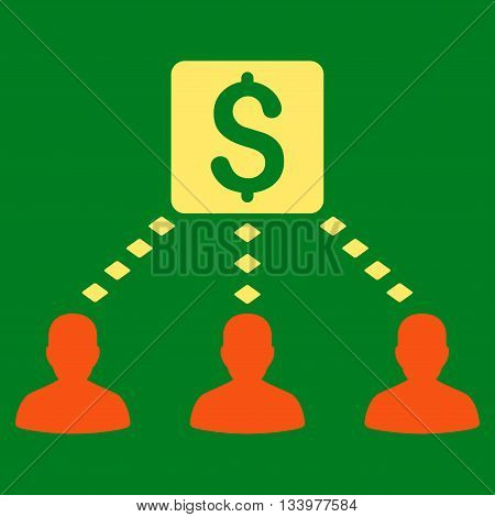 Money Recipients vector toolbar icon. Style is bicolor flat icon symbol, orange and yellow colors, green background, rhombus dots.