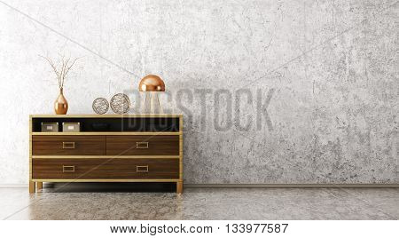 Interior With Wooden Cabinet 3D Rendering