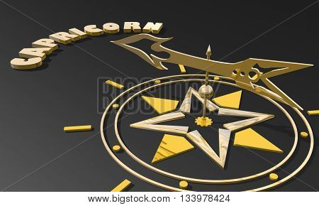 The goat astrology sign. Golden compass arrow point to astrological symbol name. 3D rendering